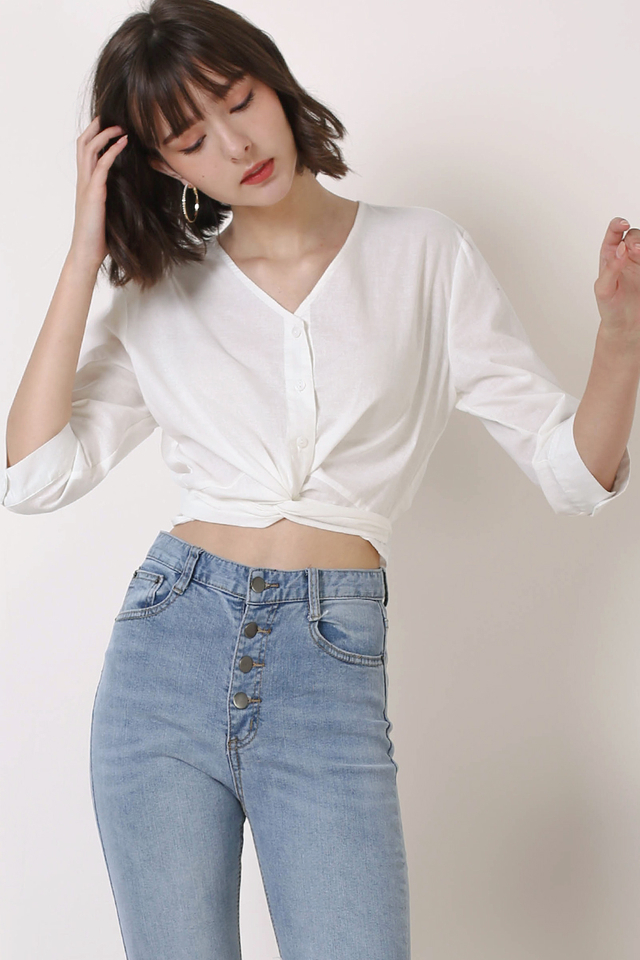 GILLIAN TIE FRONT SHIRT WHITE