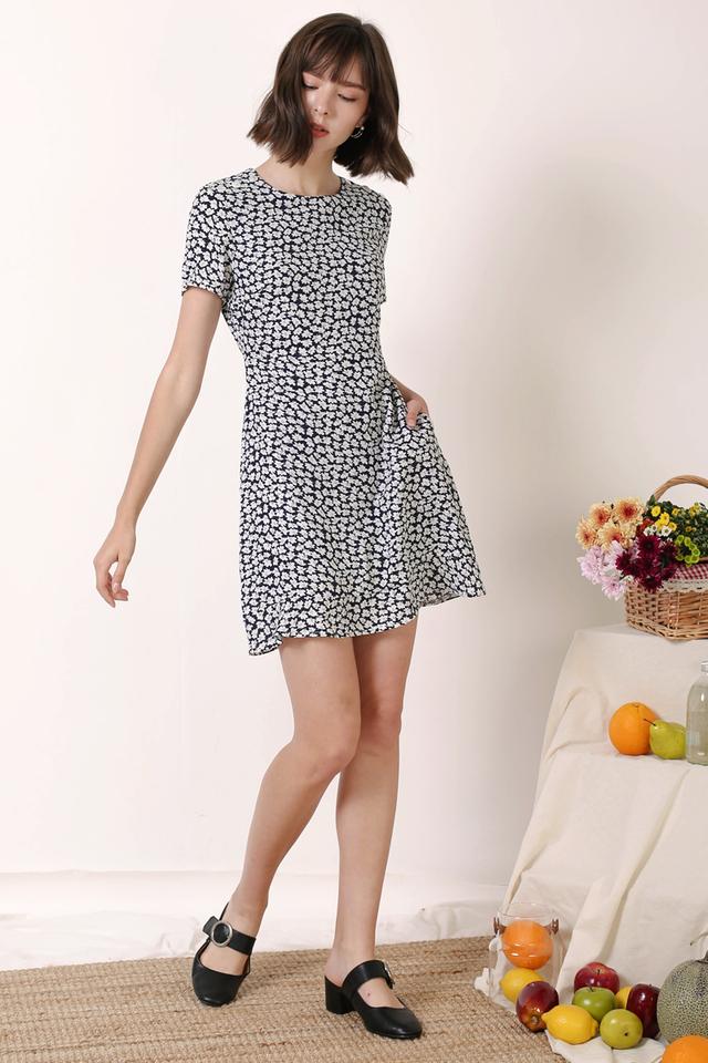 RENEE SHOULDER BUTTON DRESS NAVY