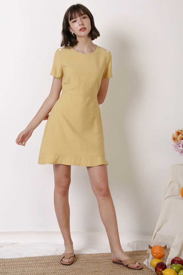 RENEE SHOULDER BUTTON DRESS MARIGOLD