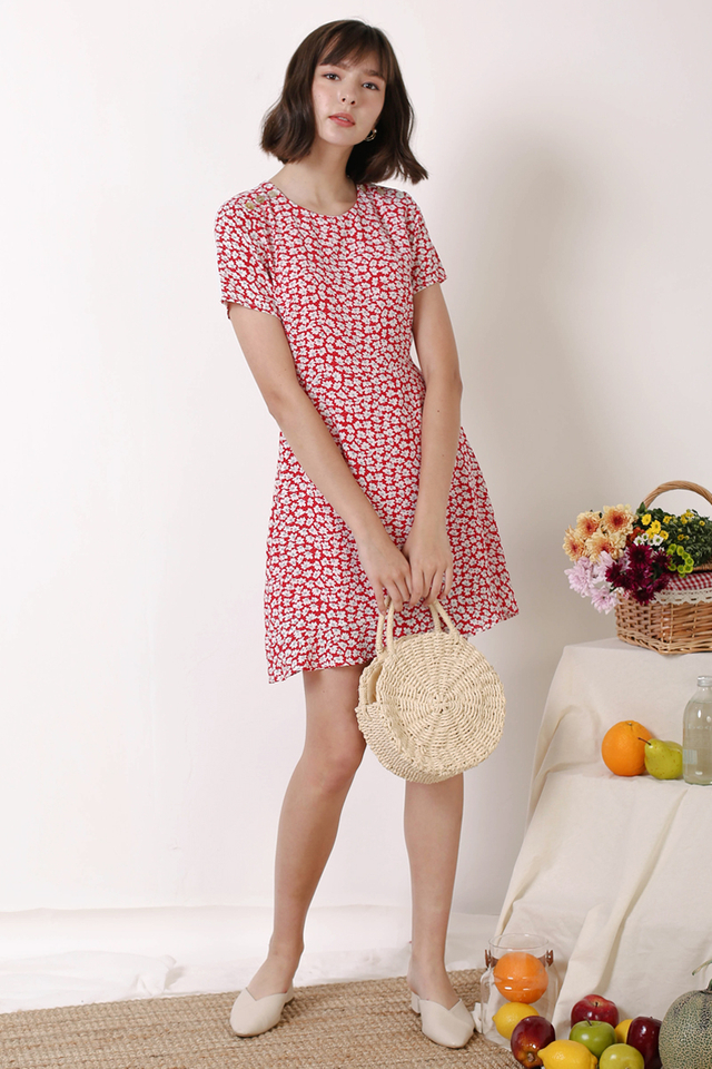 RENEE SHOULDER BUTTON DRESS RED