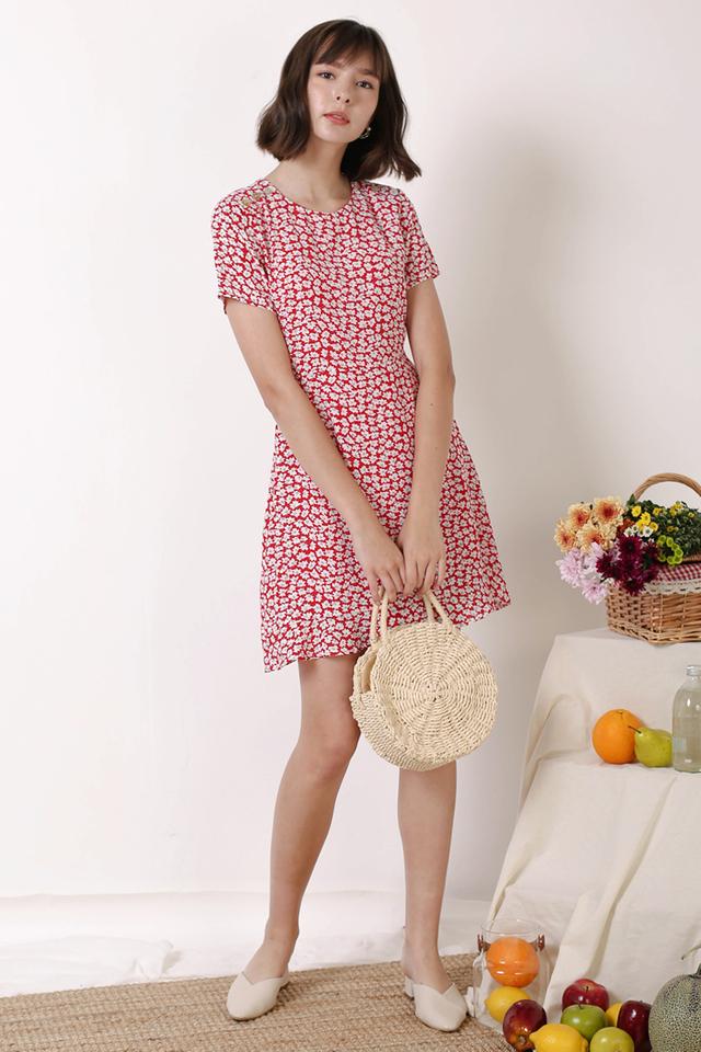 RENEE SHOULDER BUTTON DRESS RED