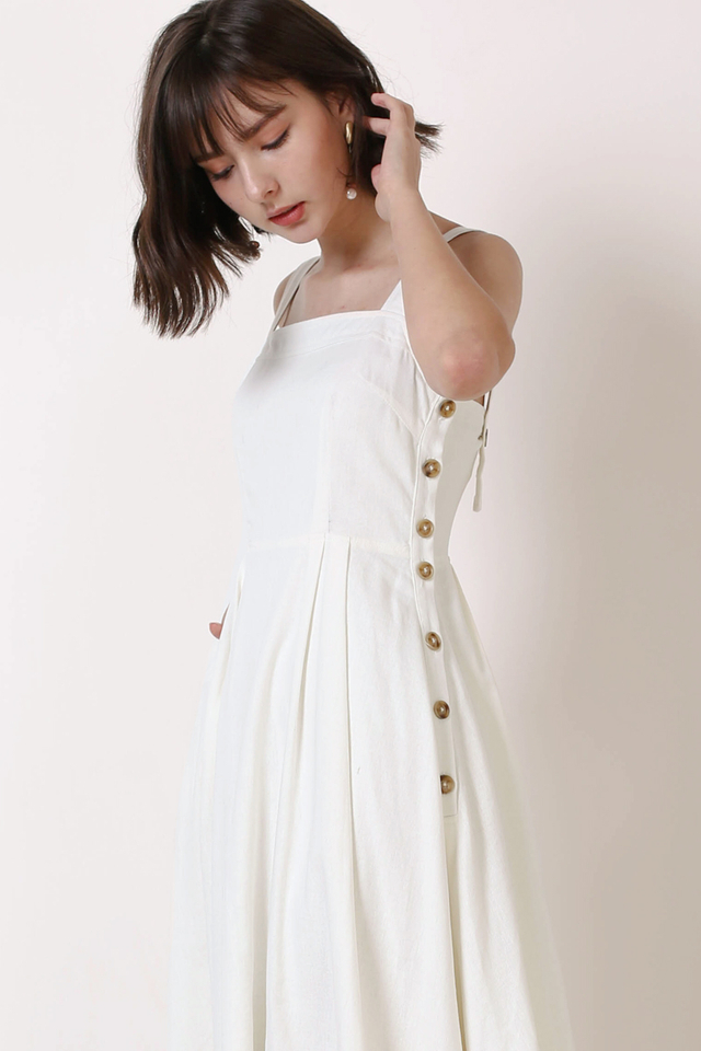 SANDI SIDE BUTTON DRESS WHITE