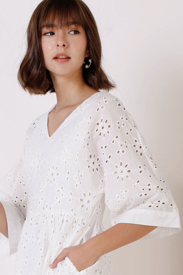 SAVANNAH EYELET DRESS WHITE