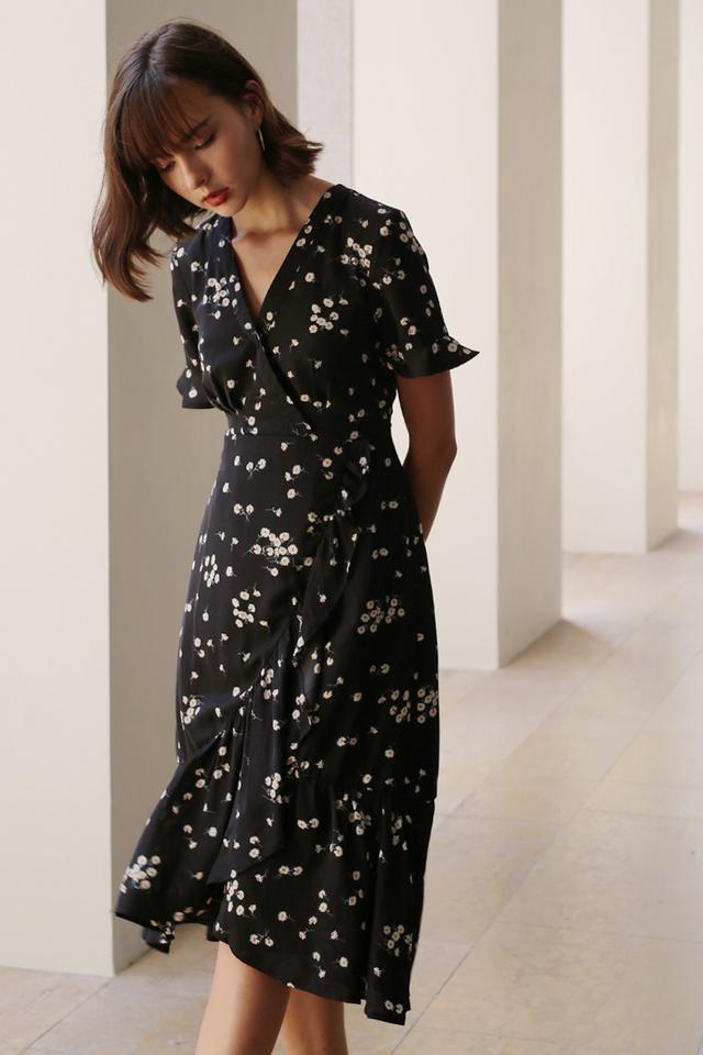 KELLYN RUFFLES DRESS BLACK
