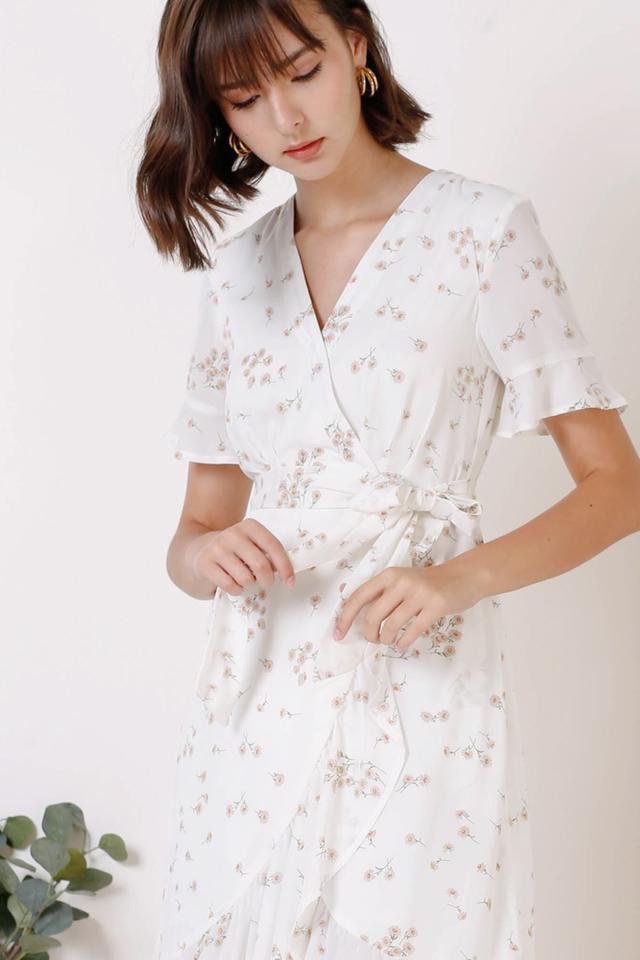 KELLYN RUFFLES DRESS WHITE