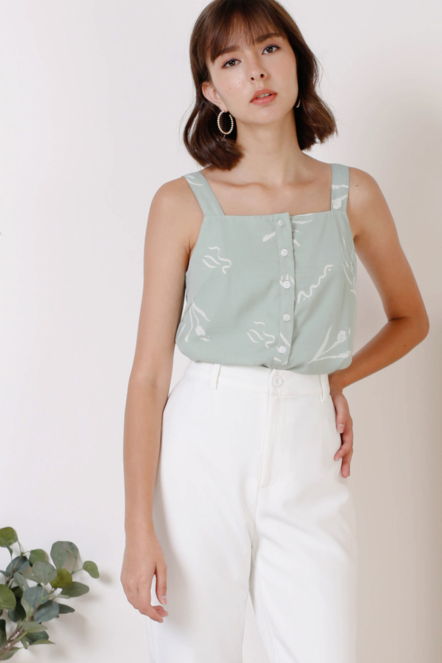 MATHILDA SQUARE NECK TOP SAGE