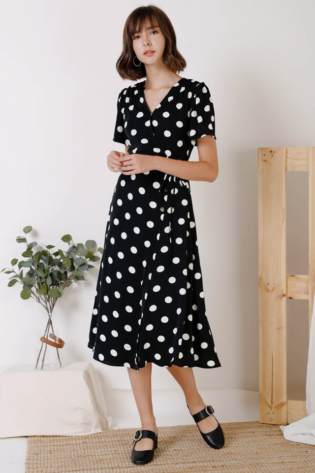 AUDREY PRINTED WRAP DRESS BLACK