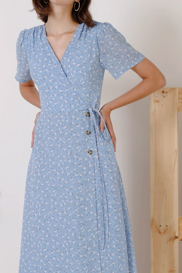 AUDREY PRINTED WRAP DRESS BLUE