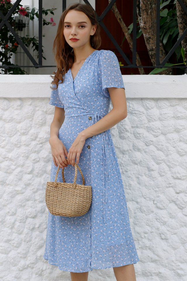AUDREY PRINTED WRAP DRESS BLUE
