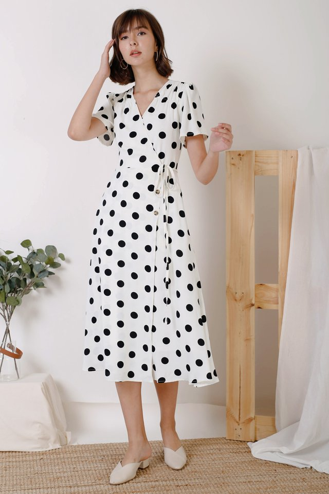 AUDREY PRINTED WRAP DRESS WHITE