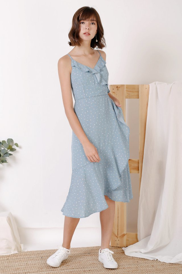 FELICIA RUFFLES DRESS BLUE