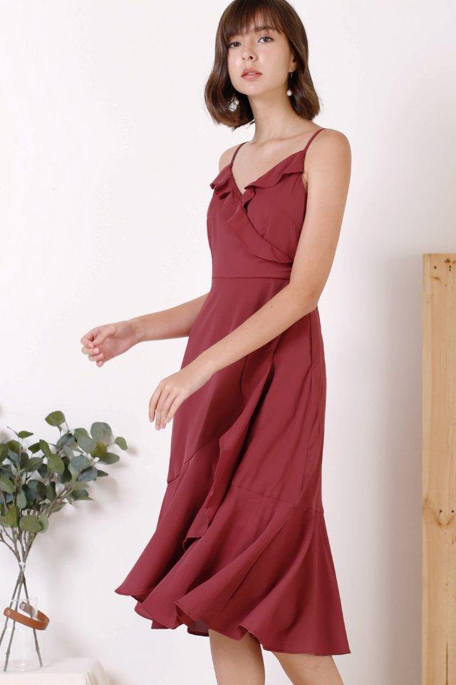 FELICIA RUFFLES DRESS BERRY