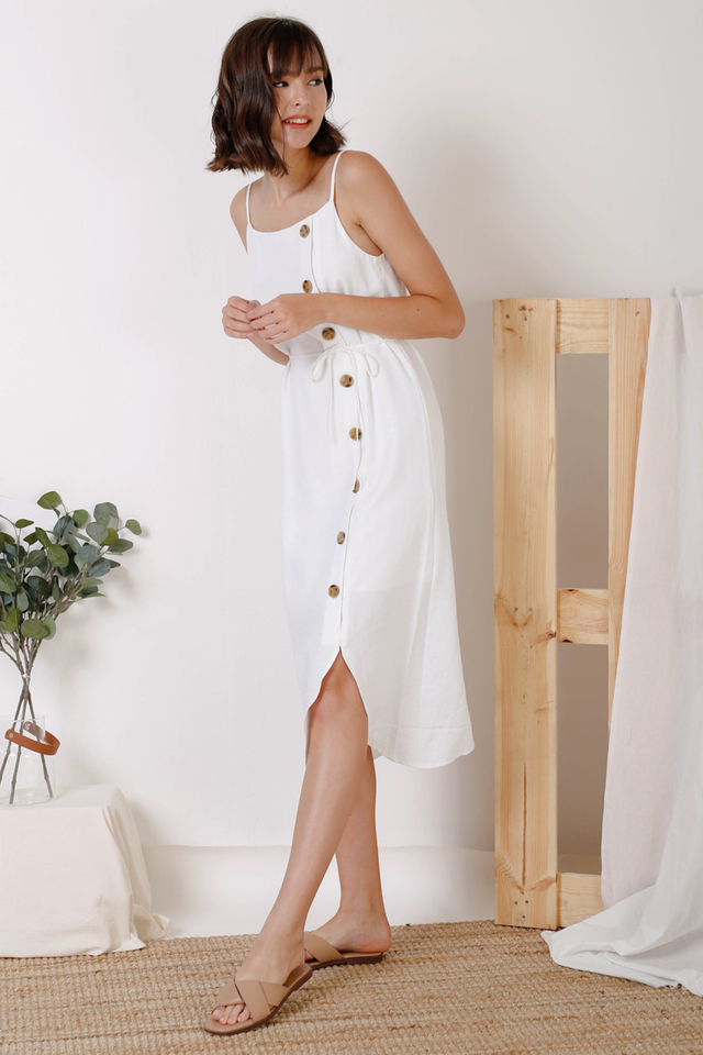 KYRA CURVE HEM DRESS WHITE