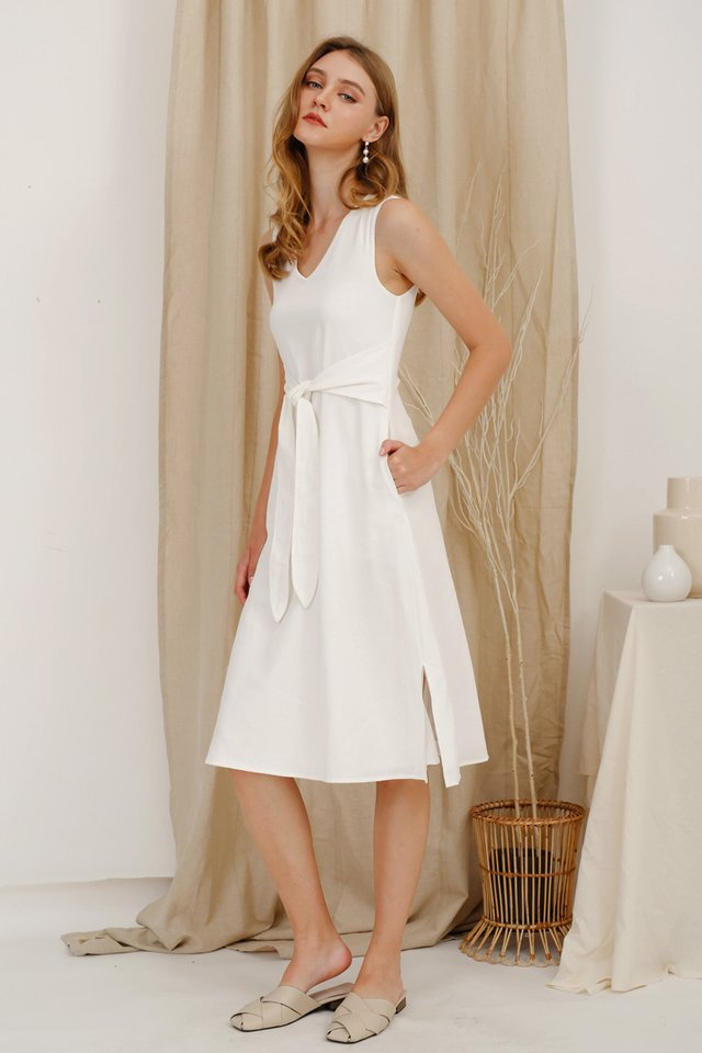 AMBER TIE WAIST DRESS WHITE