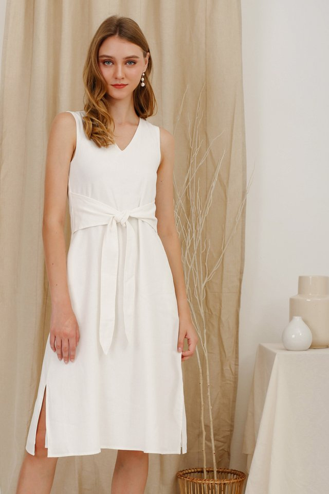 AMBER TIE WAIST DRESS WHITE