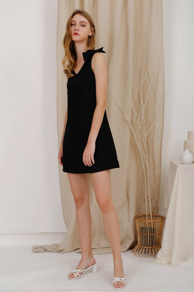 BIANCA BOW DRESS BLACK