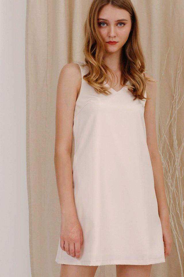BIANCA BOW DRESS CASHEW