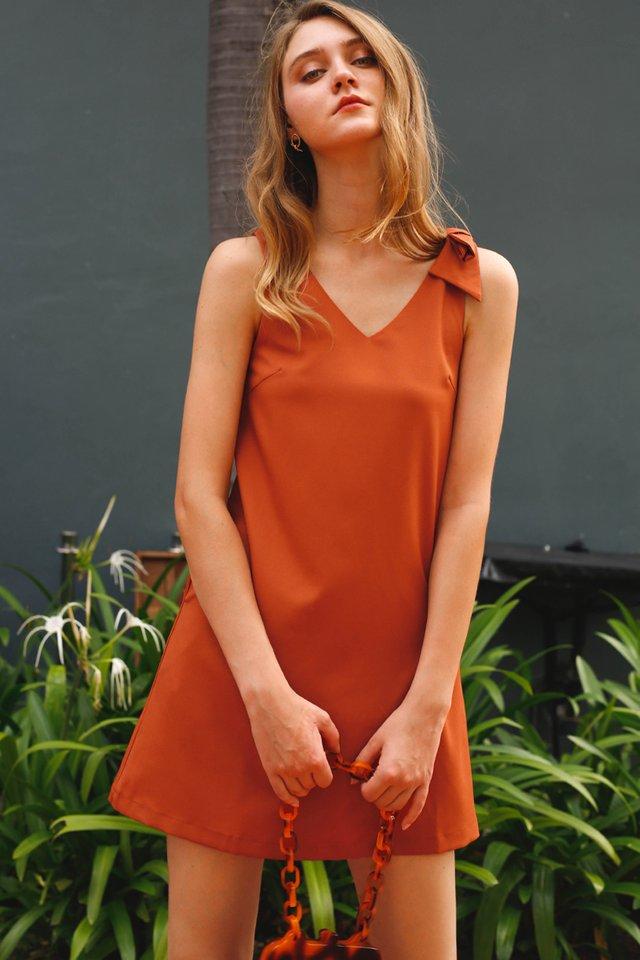BIANCA BOW DRESS SAFFRON