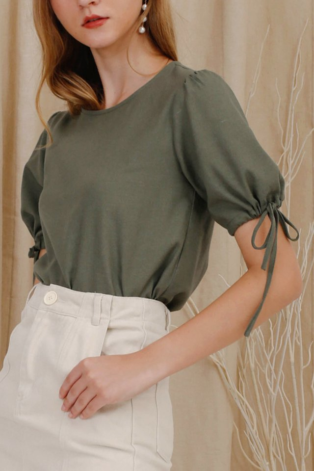BRIELLE POUF SLEEVE TOP FERN