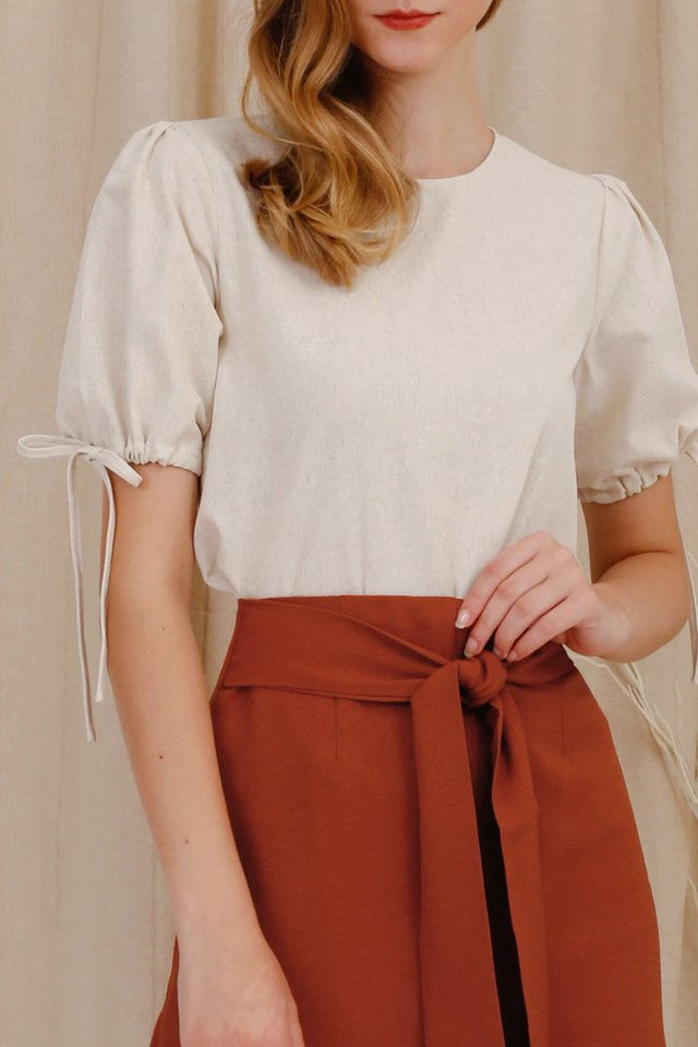 BRIELLE POUF SLEEVE TOP SAND