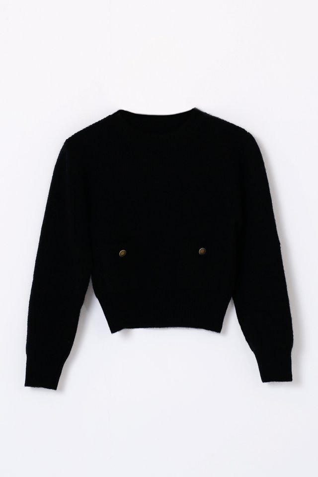 HAZEL POCKET KNIT PULLOVER BLACK