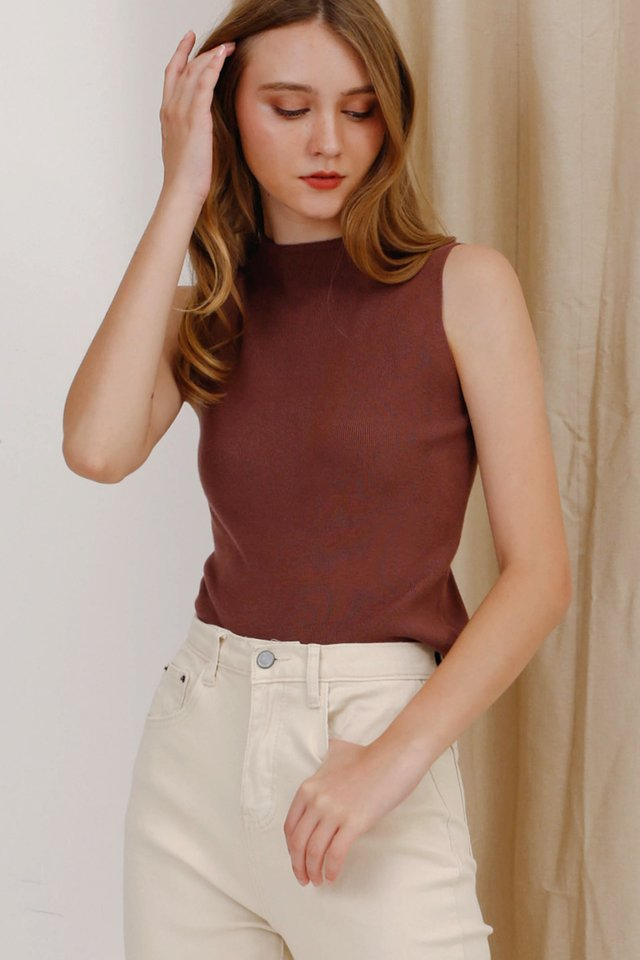 MELODY FUNNEL KNIT TOP COCOA (BACKORDER)