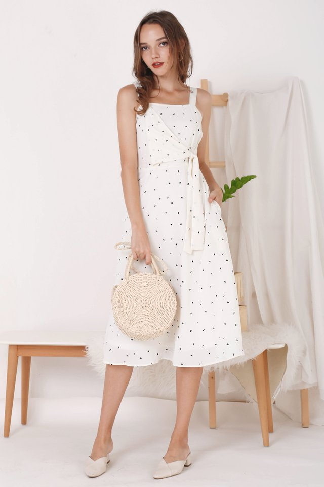 OLIVIA TIE WAIST DRESS CREAM