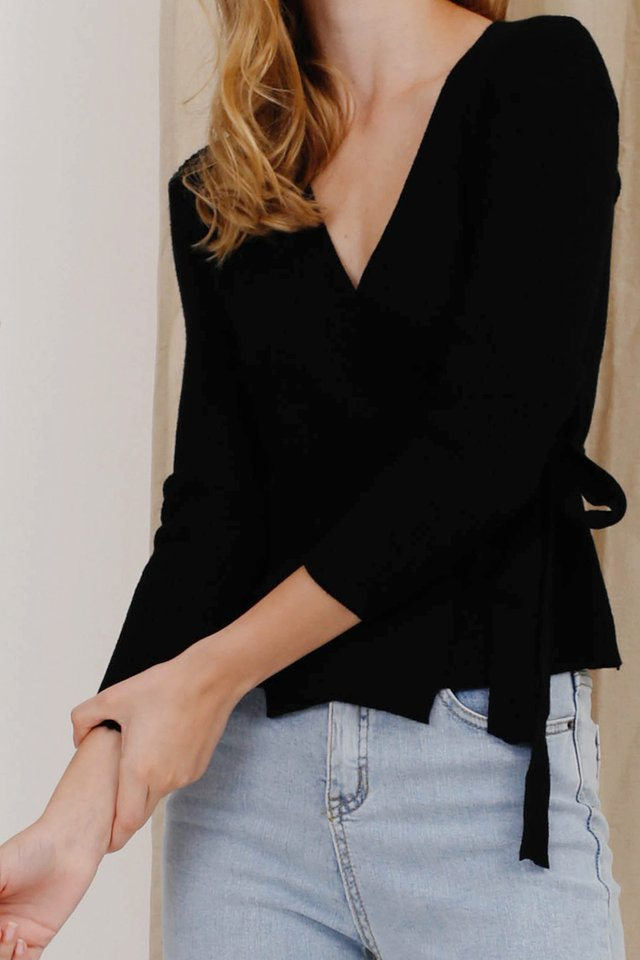 ZOE WRAP KNIT TOP BLACK