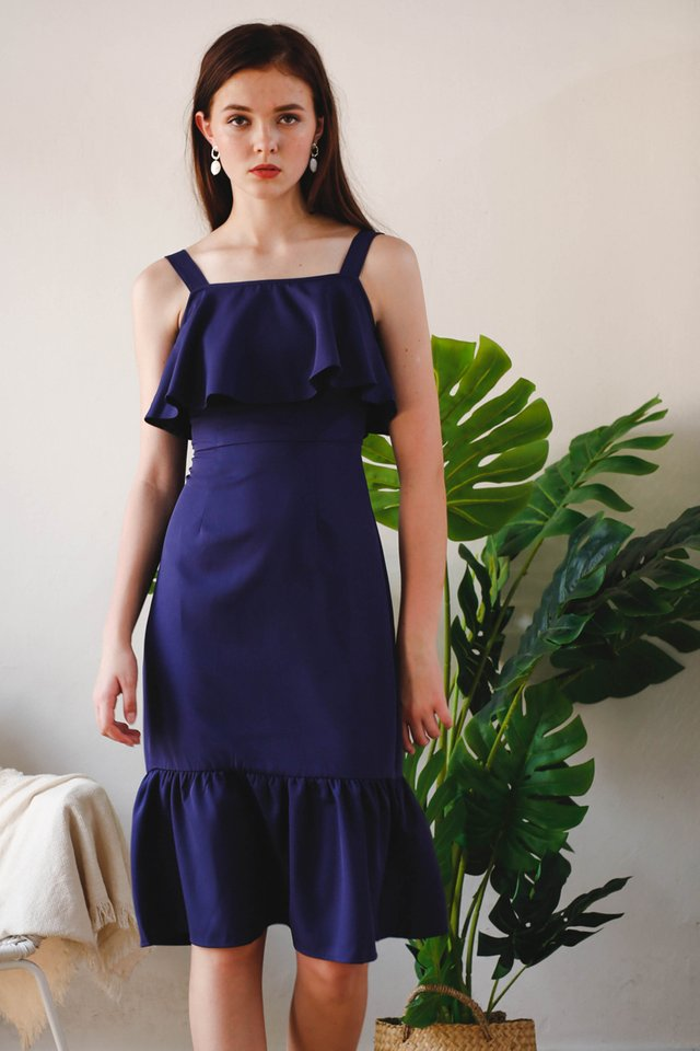 ALENGA TULIP DRESS NAVY