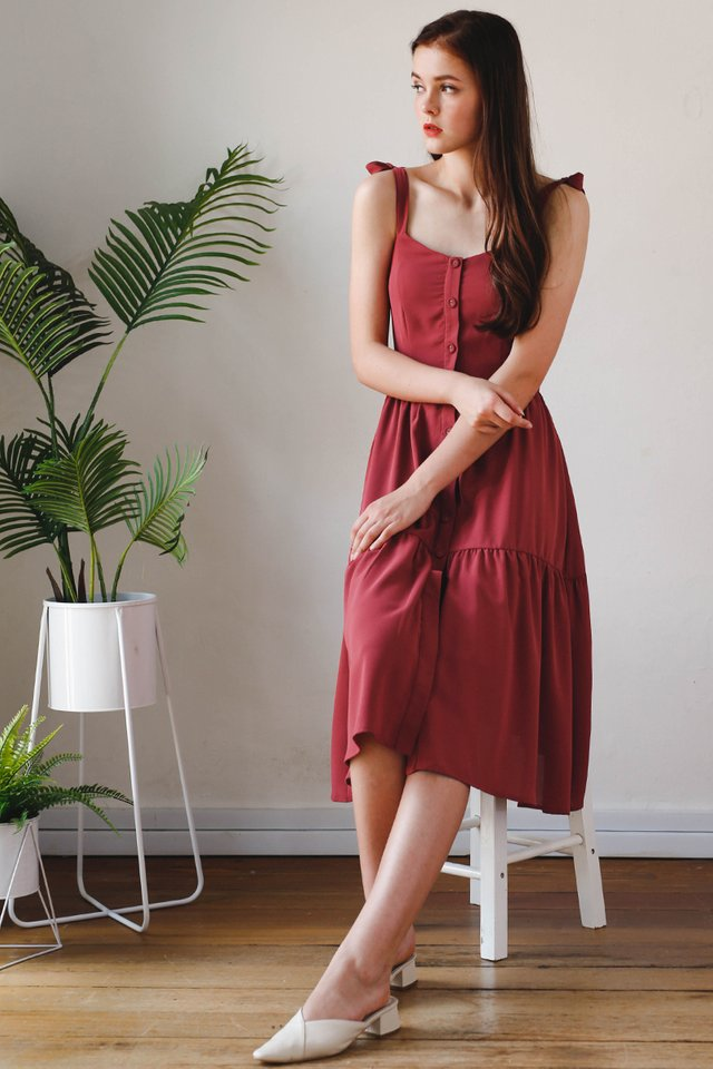 BECCA SHOULDER TIE DRESS BERRY
