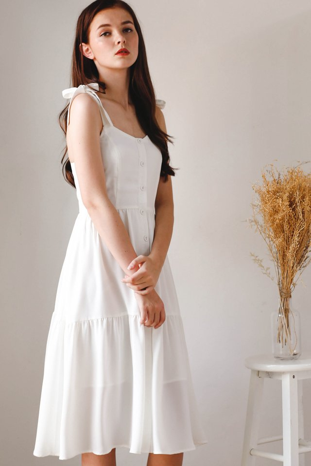 BECCA SHOULDER TIE DRESS WHITE