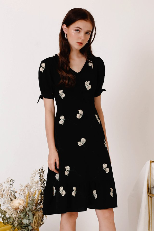 LEILA FLORA DRESS BLACK