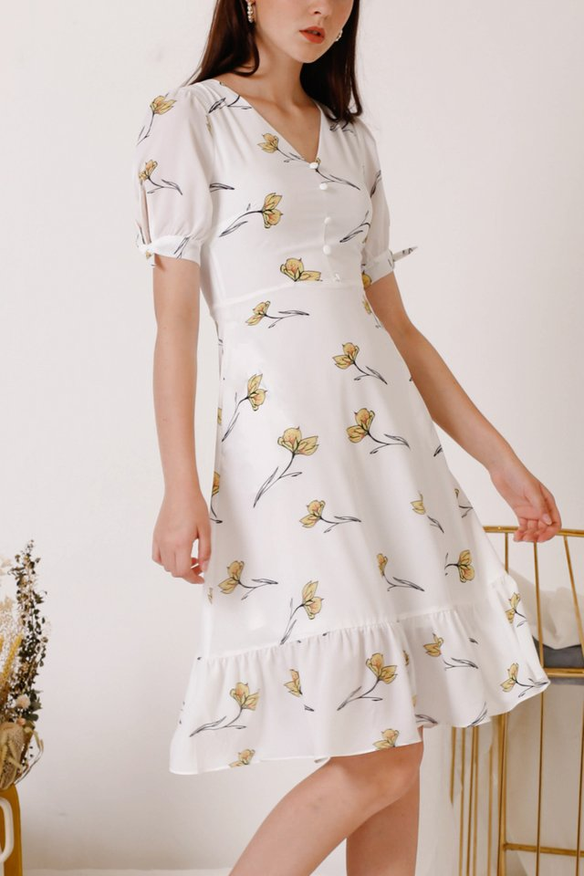 LEILA FLORA DRESS WHITE