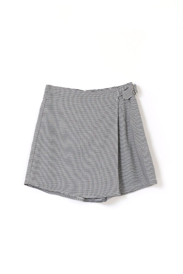 ADAM FAUX WRAP SKORTS HOUNDSTOOTH