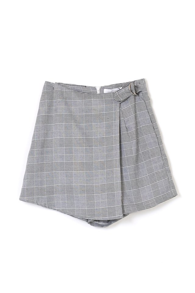 ADAM FAUX WRAP SKORTS PLAID
