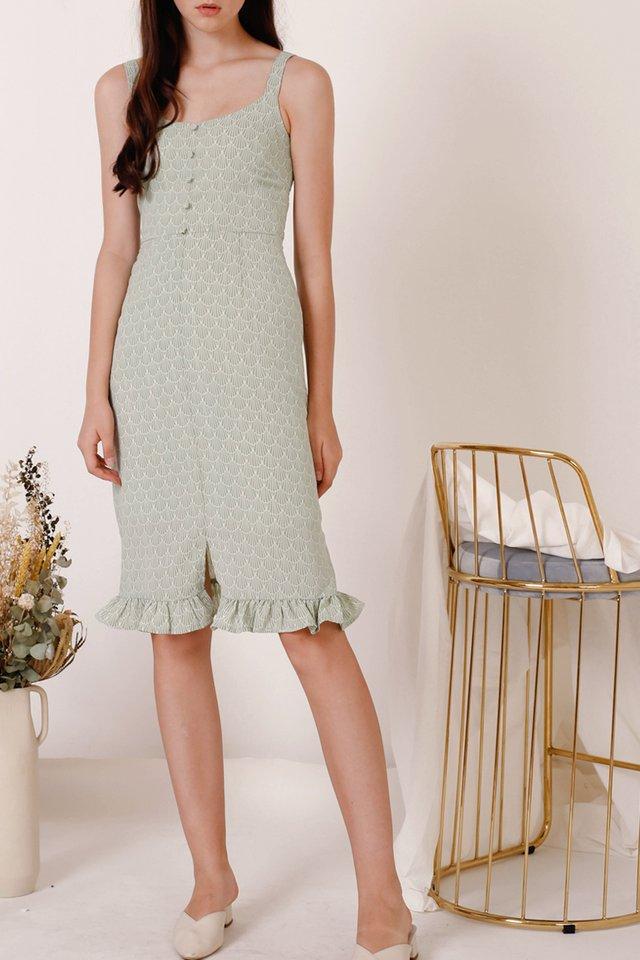 EMILY FRILL HEM DRESS JADE