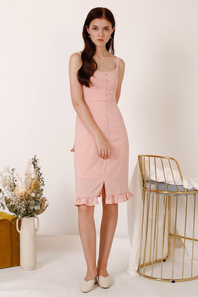 EMILY FRILL HEM DRESS PEACH