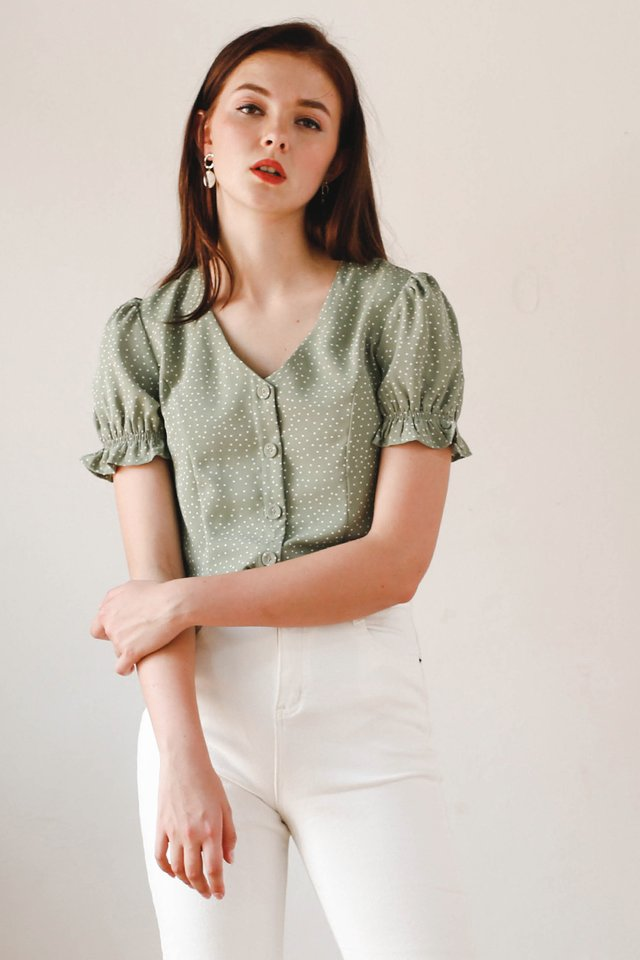 MARILYN POLKADOT TOP SAGE