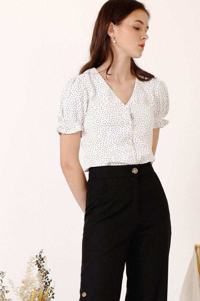MARILYN POLKADOT TOP WHITE