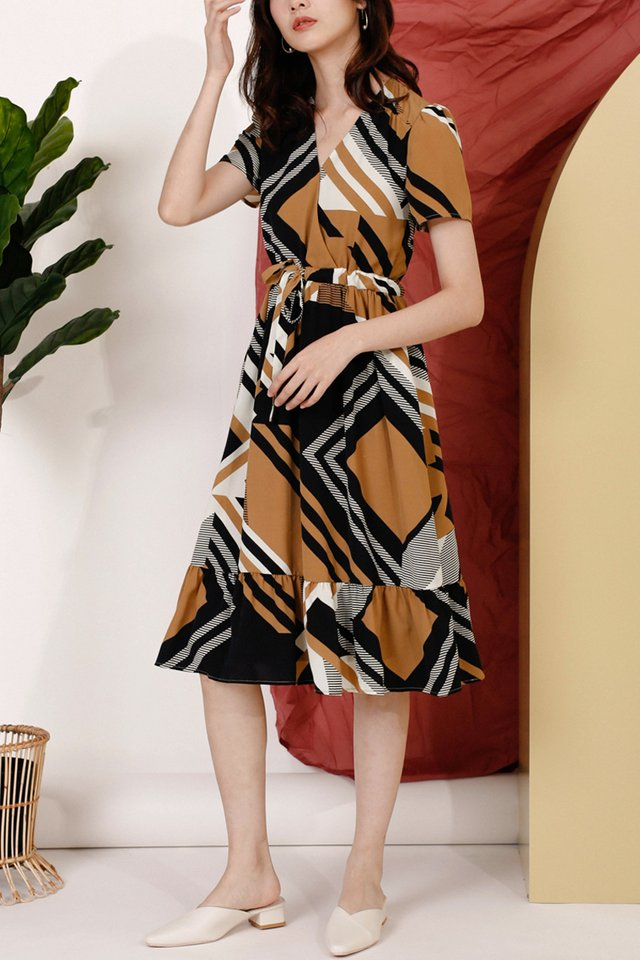 NICOLE GEOMETRIC DRESS COFFEE