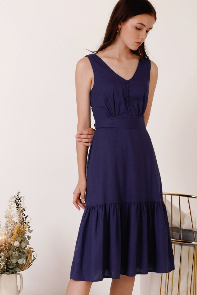 TANYA TIER HEM DRESS NAVY