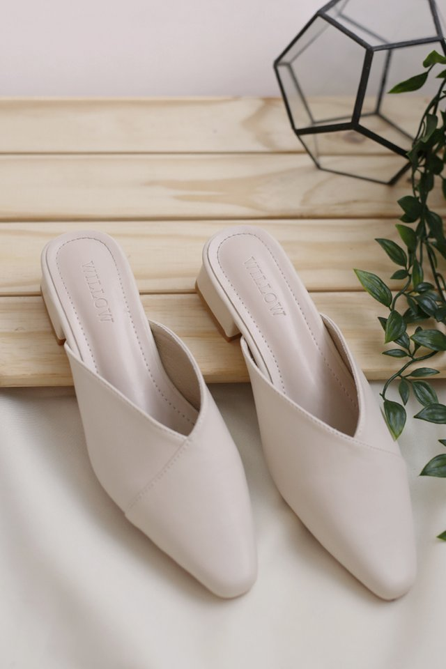 AGNES SLIP ON MULES CREAM