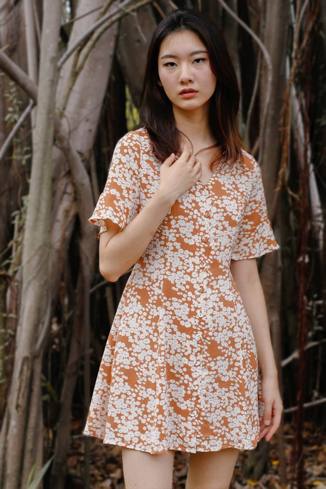 AIMEE BUTTONDOWN DRESS CARAMEL