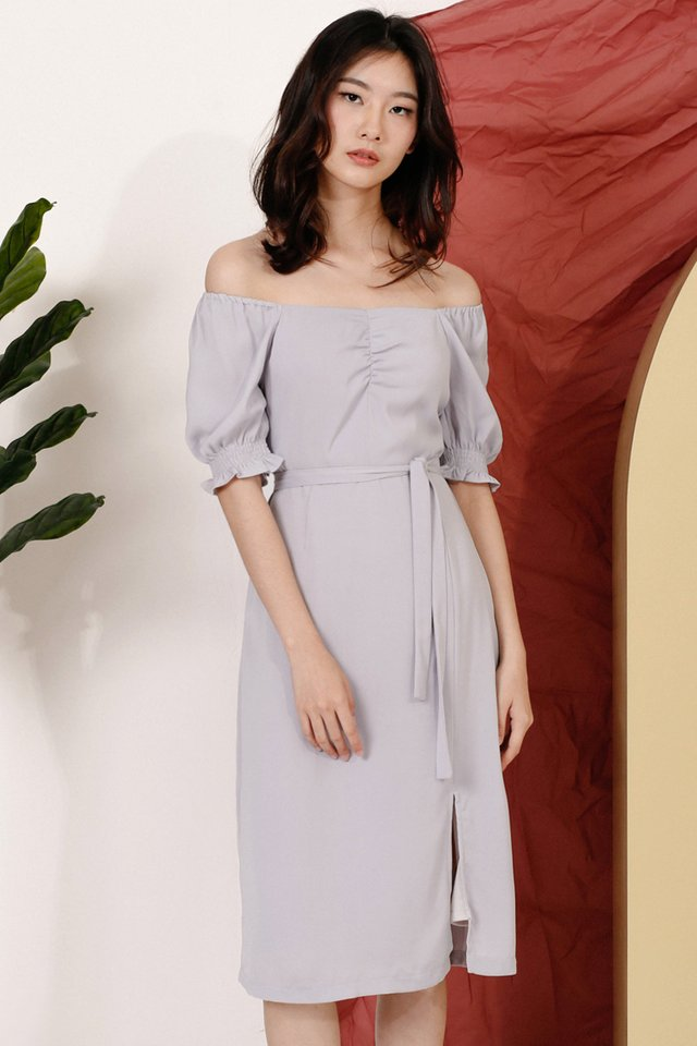 CELINE OFF SHOULDER DRESS LILAC GREY