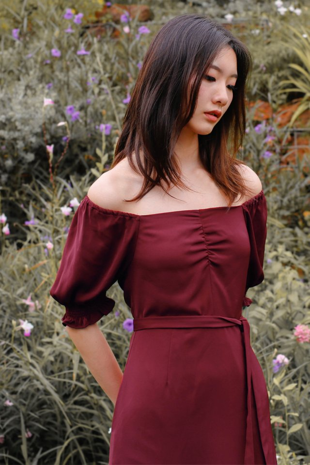 CELINE OFF SHOULDER DRESS WINE