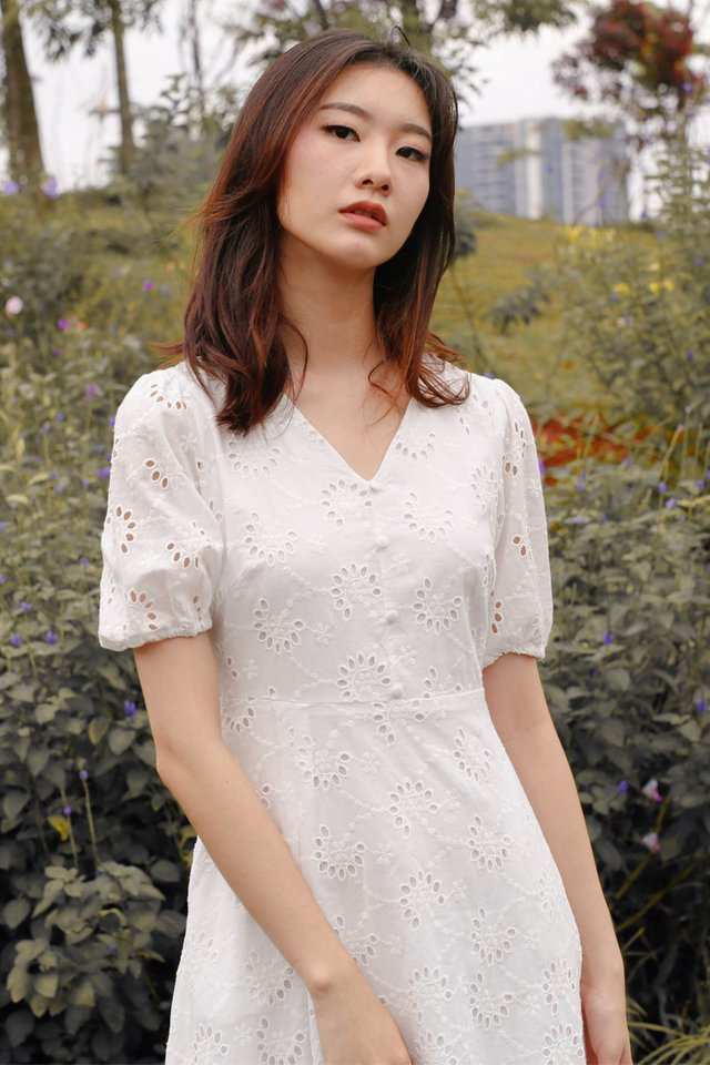 JENNIE POUF SLEEVE DRESS EYELET