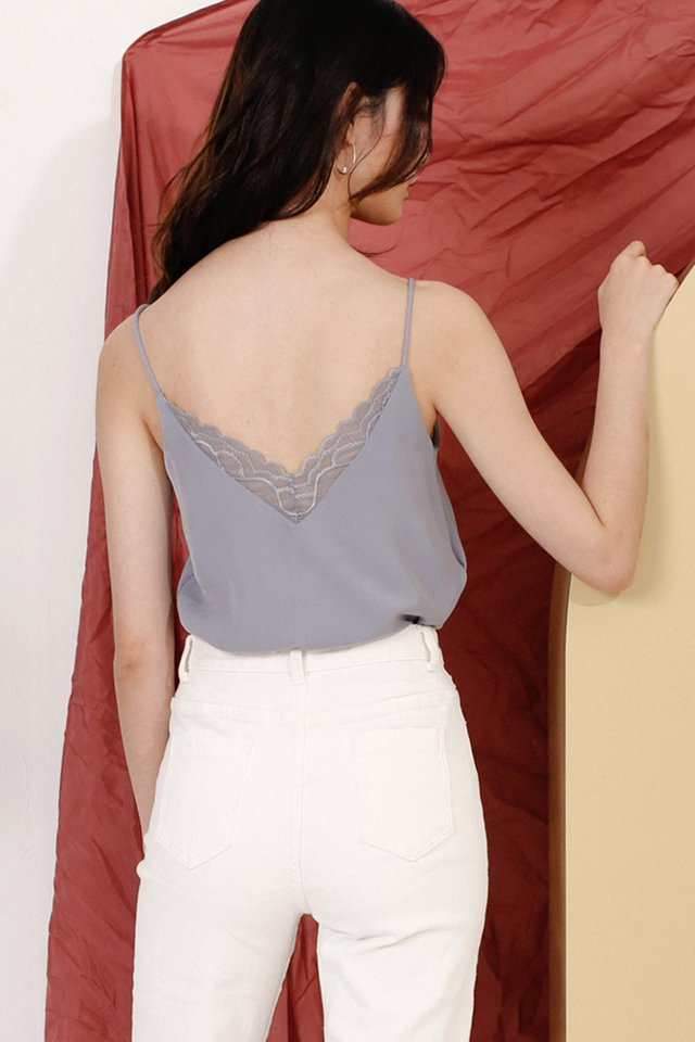 (BACKORDER) LEANNE LACE CAMISOLE DUSTY BLUE