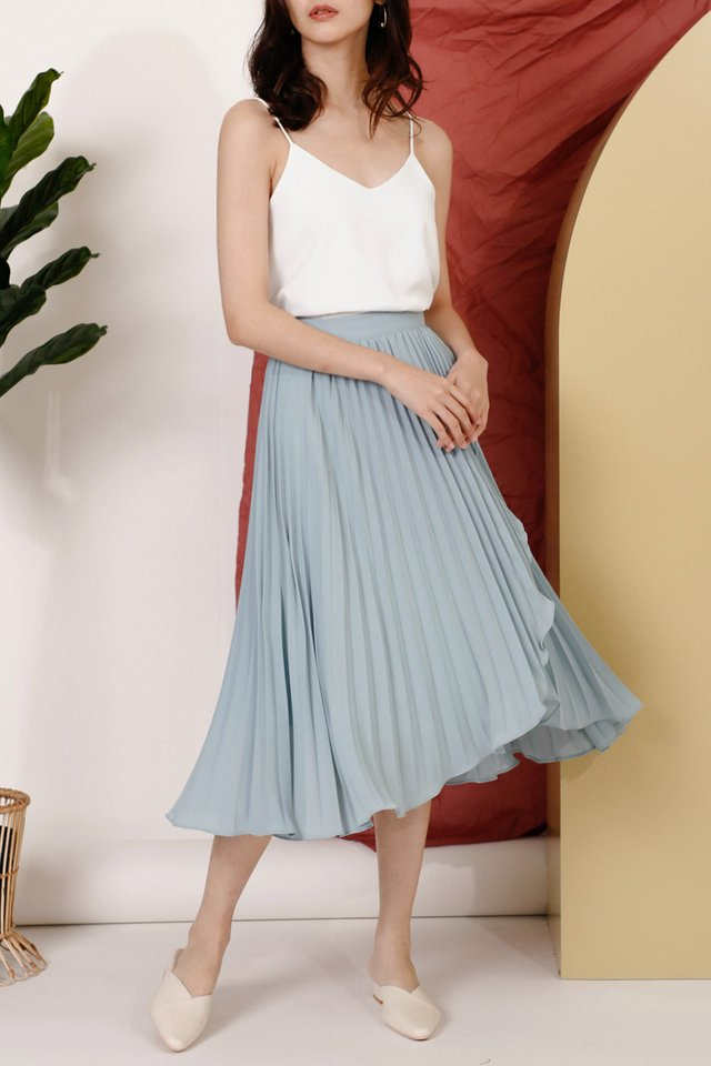 MELISSA WRAP PLEAT SKIRT LAKE