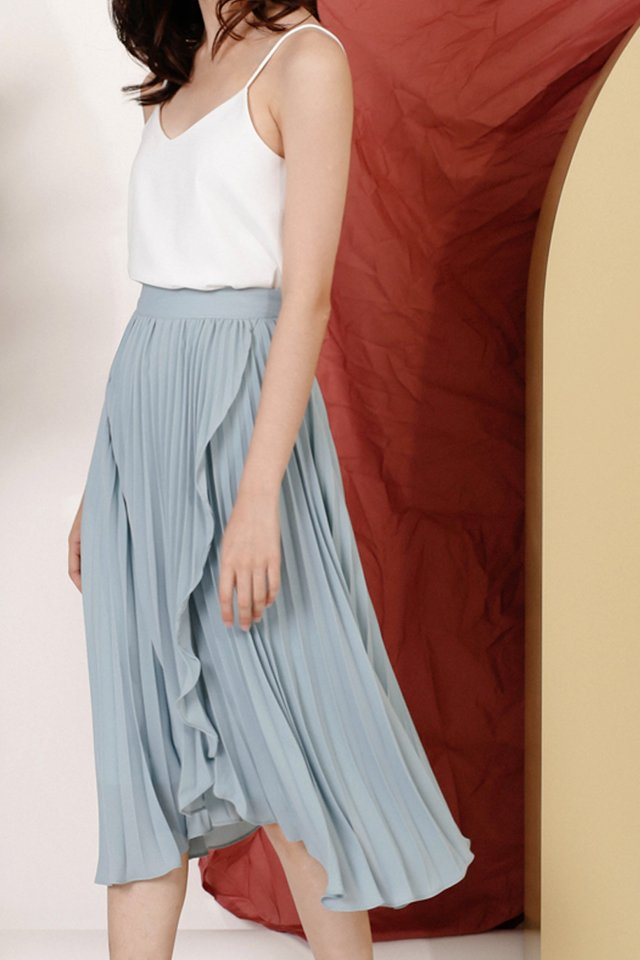 (BACKORDER) MELISSA WRAP PLEAT SKIRT LAKE