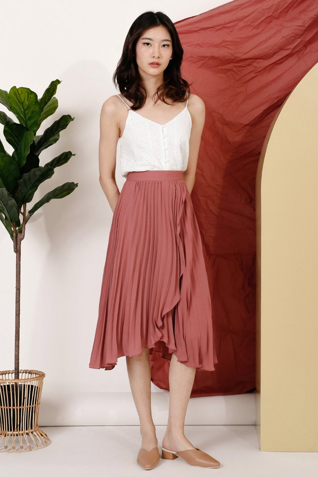 (BACKORDER) MELISSA WRAP PLEAT SKIRT PEONY
